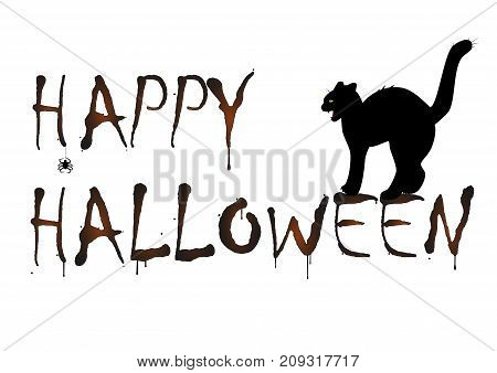 evil cat bared teeth and Happy Halloween text isolated on the white background, horizontal