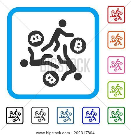 Running Persons For Bitcoin icon. Flat gray pictogram symbol in a light blue rounded frame. Black, gray, green, blue, red, orange color additional versions of Running Persons For Bitcoin vector.