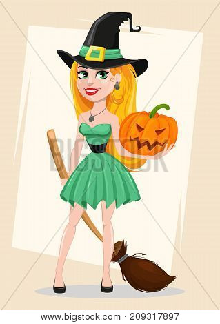 Halloween greeting card. Beautiful lady witch wearing pilgrim hat and holding broom and pumpkin. Cartoon character on abstract background. Vector stock