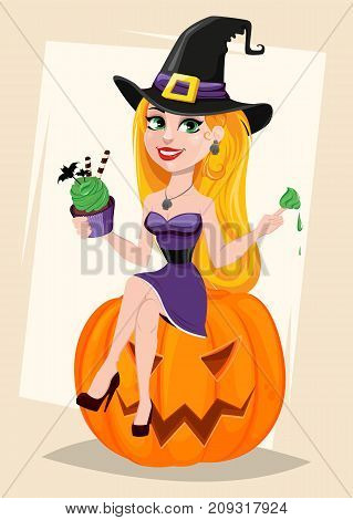 Halloween greeting card. Beautiful lady witch wearing pilgrim hat sitting on pumpkin and eating cake. Cartoon character on abstract background. Vector stock