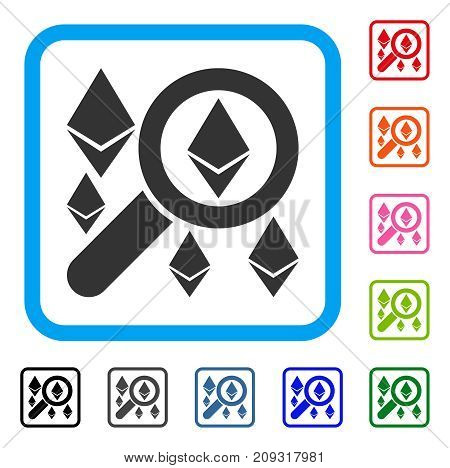 Search Ethereum icon. Flat gray iconic symbol in a light blue rounded rectangle. Black, gray, green, blue, red, orange color additional versions of Search Ethereum vector. Designed for web and app UI.