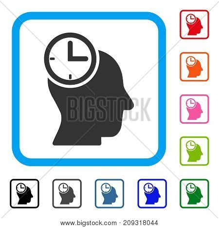 Time Thinking Head icon. Flat gray pictogram symbol inside a light blue rounded square. Black, gray, green, blue, red, orange color additional versions of Time Thinking Head vector.