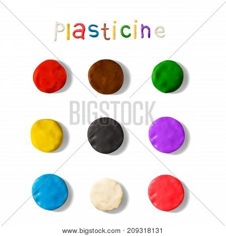 Color plasticine palettes set isolated on a white background. Modeling Clay. 3d Vector illustration. Creative putty-like material for children's play