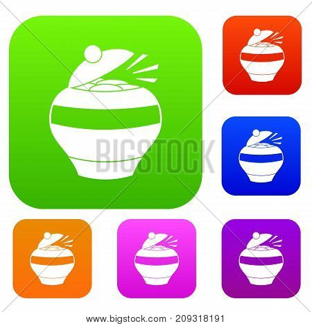 Pot full of gold coins set icon color in flat style isolated on white. Collection sings vector illustration