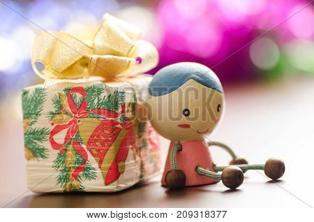 Decoration gift box and doll in Christmas day