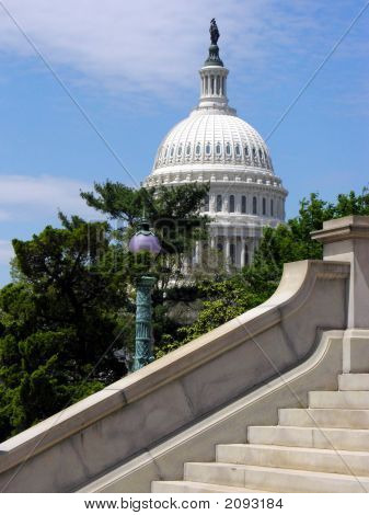 Capitol With Stairs In Foreground