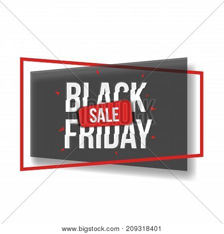 Black Friday sale banner with shapes, frame and glitch font, three color vector illustration. Black Friday sale banner, poster, advertisement design with glitch style typescript and geometrical shape