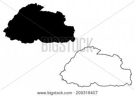 Bhutan map vector illustration , scribble sketch Bhutan