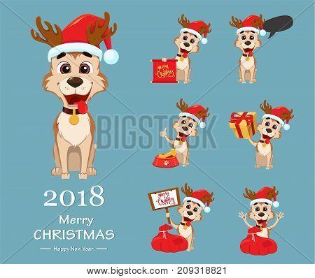 Merry Christmas. Cute dog wearing Santa Claus hat and deer antlers. Set of vector illustrations.