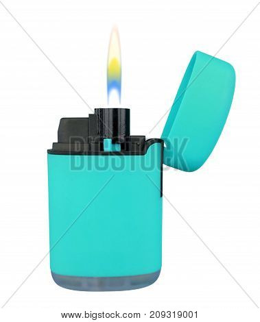 Plastic Gas Lighter With Flame - Light Blue