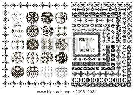 Collection of 20 Black Geometric Seamless Patterns and 15 Flexible, Color, Size and Shape adjustable Pattern Brushes with outer and inner tiles. Vector Illustration. Ornamental Repeating Backgrounds