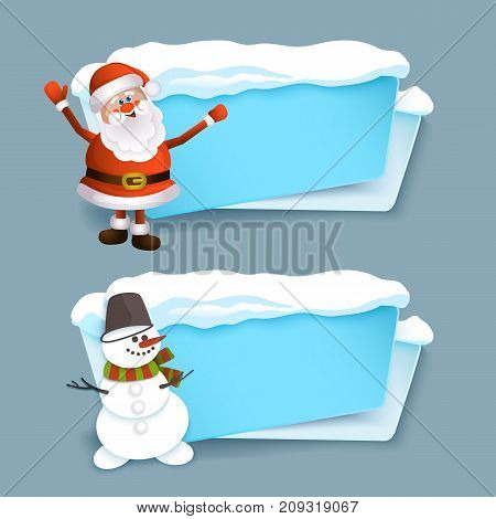 vector cartoon realistic white, blue winter empty banner templates wit snow caps, icicles and christmas new year holidays symbols - snowman, santa claus set. Illustration on grey background.
