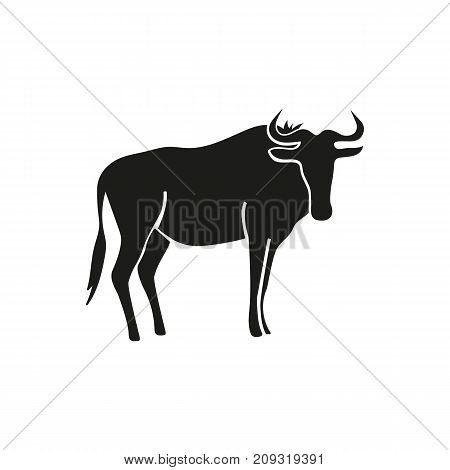 Simple icon of wildebeest. Gnu, bull, toro. Animals concept. Can be used for topics like fauna, zoo, cattle