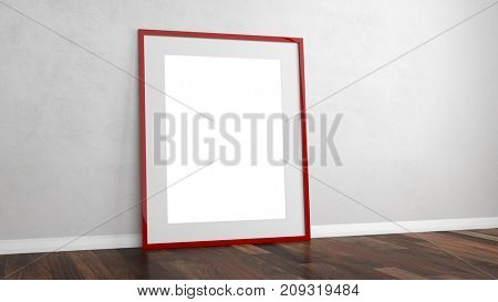 Empty picture frame for background on a wall for exhibition or presentation (3D Rendering)