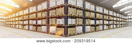 Panorama of warehouse or stock hall with many boxes (3D Rendering)