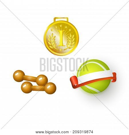 vector flat sport equipment set. Tennis ball with ribbon blank banners , golden first flace winner medal trophy and dumbbells objects . Isolated illustration on a white background