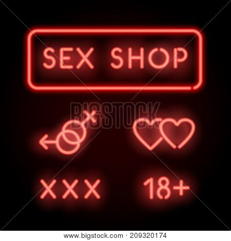 Sex shop neon. Vector red signs, icons, logo on the wall. Adult store