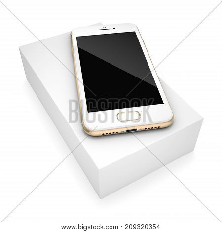 3D Rendering Gold Smart Phone With Black Screen