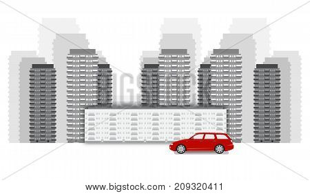 Cityscape flat vector illustration in monochrome black and white colors red car standing near the buildings vector illustration. Modern down town isolated on white background. Cityscape vector, red car. Down Town concept.