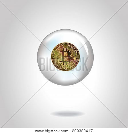 Golden  realistic coin with bitcoin symbol in soap bubble. Vector illustration. Eps10.