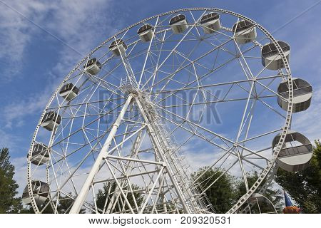 Ferris wheel in the garden named after Karaev in the resort town of Evpatoria, Crimea, Russia
