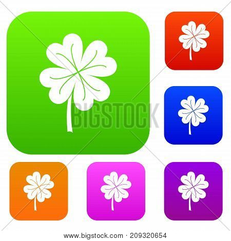 Clover leaf set icon color in flat style isolated on white. Collection sings vector illustration