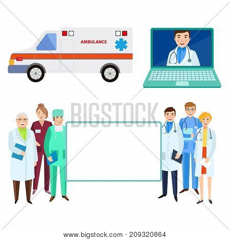 Hospital staff, doctors holding big empty board, ambulance and laptop with online help service, flat cartoon vector illustration isolated on white background. Flat cartoon doctors, medical staff set