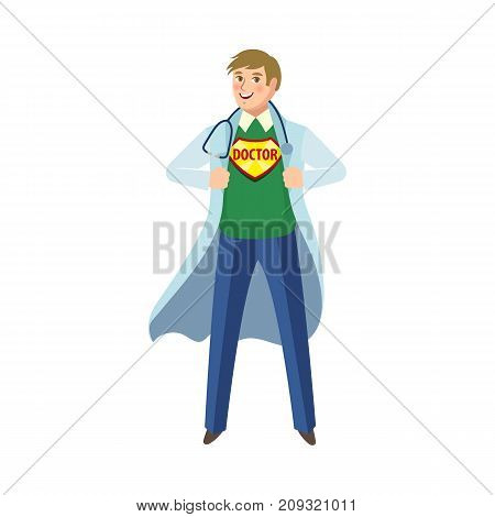 vector flat cartoon young male super doctor, handsome physician in medical clothing, white gown and glasses smiling. Isolated illustration on a white background.