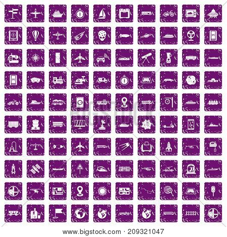 100 technology icons set in grunge style purple color isolated on white background vector illustration