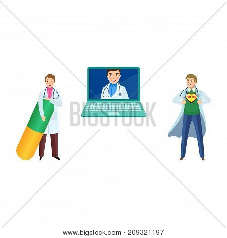 vector flat adult male doctor, head physician in white medical clothing with stethoscope smiling avatar in laptop, man with huge pill , super doctor set. Isolated illustration on a white background.