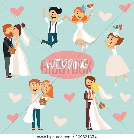 Funny wedding couple, bride and groom, hugging, kissing, celebrating, flat style cartoon vector illustration, sticker set. Funny comic style wedding couple, hugging and kissing, throwing flowers