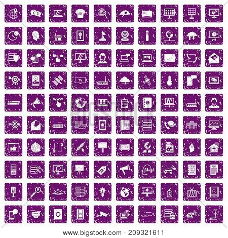 100 telecommunication icons set in grunge style purple color isolated on white background vector illustration