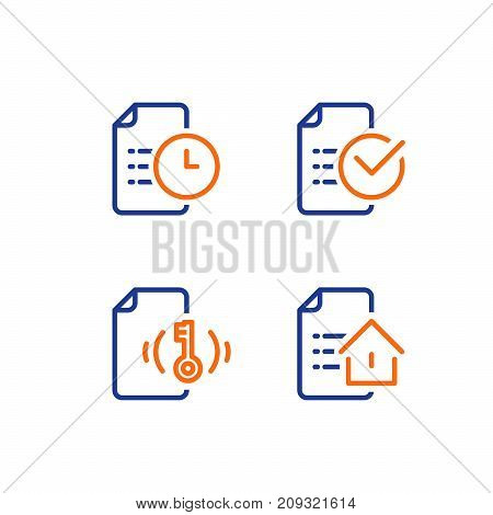 Mortgage application form, rental house contract creation, document terms and conditions, home loan approved mark, real estate concept, vector line icon