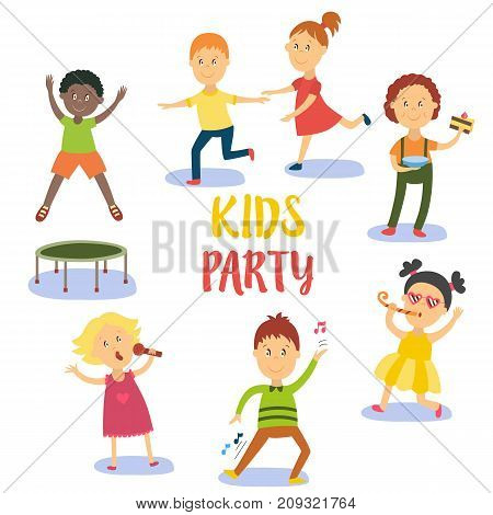 Kids, children, boys and girls having fun at birthday party, flat cartoon vector illustration isolated on white background. Kids party - boys and girls sing, dance, eat birthday cake, jump and run