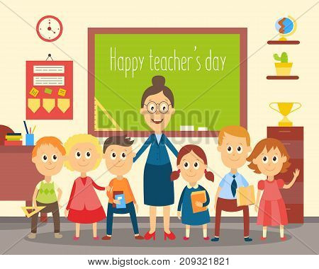 Portrait of female teacher standing with students, pupils in the classroom, flat cartoon, comic style vector illustration, greeting card, poster template. Teacher and students standing in classroom
