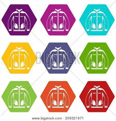 Men winter jacket icon set many color hexahedron isolated on white vector illustration