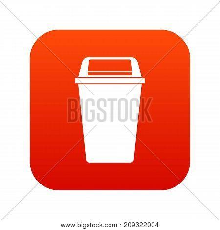 Plastic flip lid bin icon digital red for any design isolated on white vector illustration