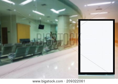 blank advertising billboard or showcase light box with copy space for your text message or media and content in lobby at hospital background medical commercial marketing and advertising concept