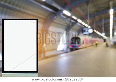 blank advertising billboard or showcase light box with copy space for your text message or media and content in subway train station transportation commercial marketing and advertising concept