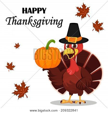 Thanksgiving greeting card with a turkey bird wearing a Pilgrim hat and holding pumpkin. Funny cartoon character for holiday. Vector illustration on white background.
