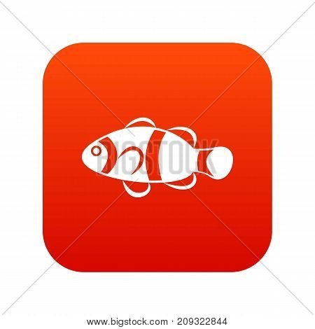 Cute clown fish icon digital red for any design isolated on white vector illustration