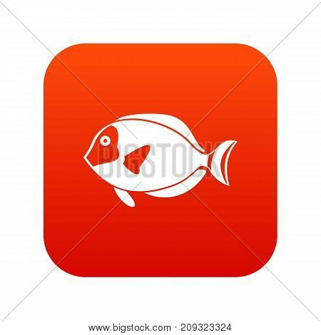 Surgeon fish icon digital red for any design isolated on white vector illustration