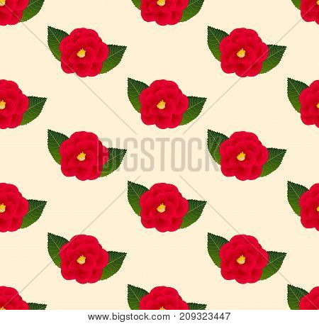 Red Camellia Flower Seamless on Beige Ivory Background. Vector Illustration.