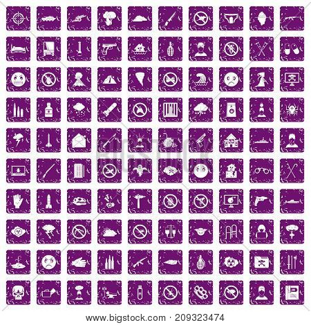 100 tension icons set in grunge style purple color isolated on white background vector illustration