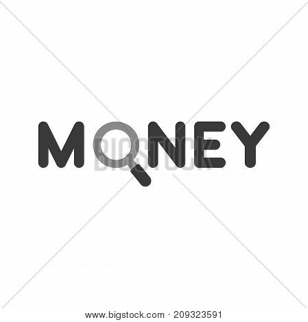 Flat Design Style Vector Concept Of Money Text With Magnifying Glass Or Magnifier Icon On White