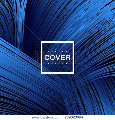 Abstract blue weaved background with tangled gradient lines. Intricate linear bundles. Vector art illustration. Cover or poster design template