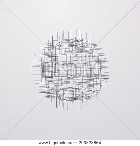 Abstract lattice 3d shape with lines and levels. Vector technology illustration. HUD element for design.