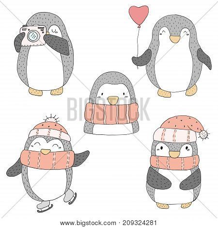 Cute hand drawn penguins set . Printable templates.