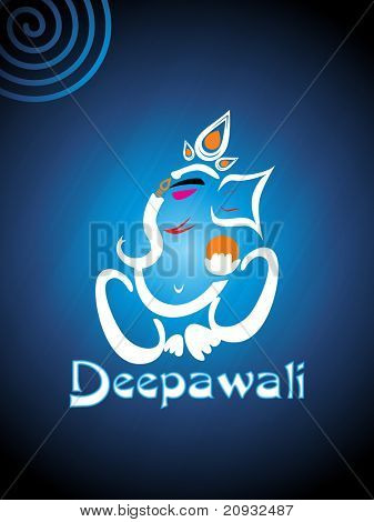 abstract shiny blue background with ganpati for diwali