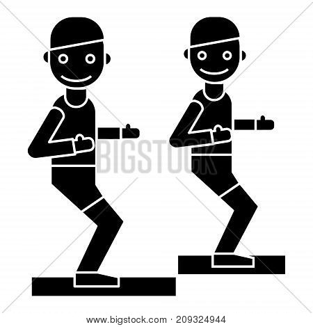 fitness trainer - coach - gym icon, illustration, vector sign on isolated background